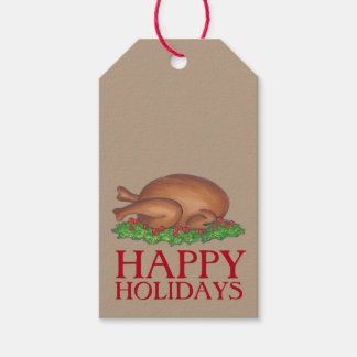 Happy Holidays Thanksgiving Christmas Turkey Tag Pack Of Gift Tags