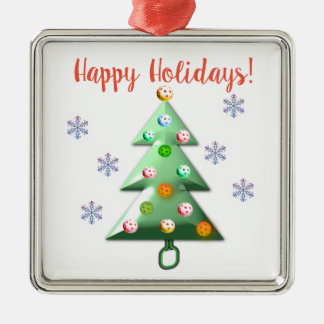 Happy Holidays the Pickleball way! Metal Ornament