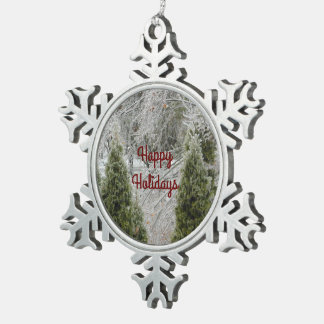 Happy Holidays Tranquil Icy Branches Pewter Snowflake Ornament
