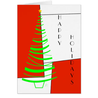 Happy Holidays, Tree on Geometric Shapes & Lines Greeting Card