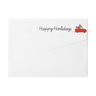 Happy Holidays Truck and gifts Christmas label