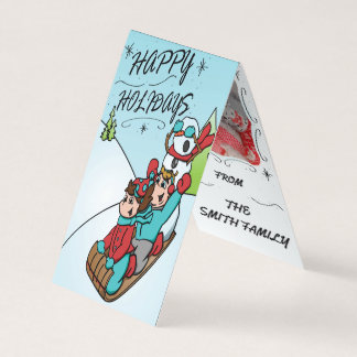 Happy Holidays Vertical Top Folding Card