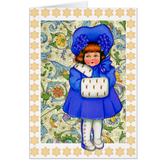 Happy Holidays Vintage Winter Girl Card