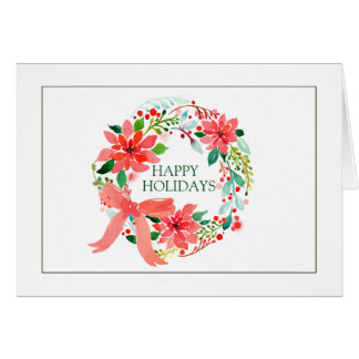 Happy Holidays | Watercolor Christmas Wreath Card