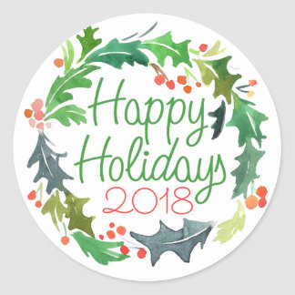 Happy Holidays | Watercolor Christmas Wreath Classic Round Sticker