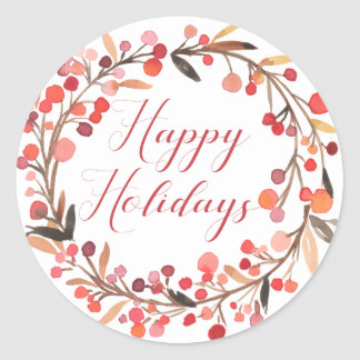 Happy Holidays | Watercolor Holly Wreath Classic Round Sticker