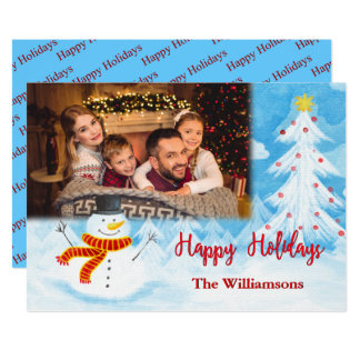 Happy Holidays Watercolor Snowman Photo Christmas Card