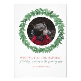 Happy Holidays Watercolor Wreath Card