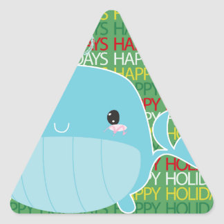 Happy Holidays Whale Triangle Sticker