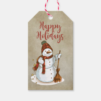 Happy Holidays Whimsical Snowman Gift Tags Pack Of Gift Tags