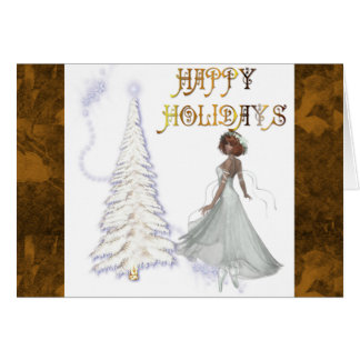 Happy Holidays White Dancer & White Tree Card