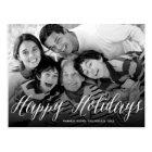 Happy Holidays White Script Holiday Photo Postcard