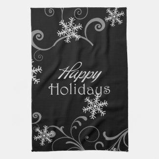 Happy Holidays White Snowflakes on Black Kitchen Towel