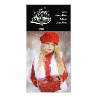 Happy Holidays White Text on Black Photo Card