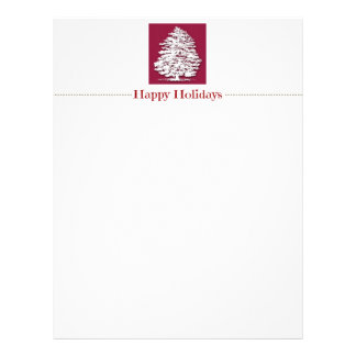 Happy Holidays White Tree Christmas Letter Paper Customized Letterhead
