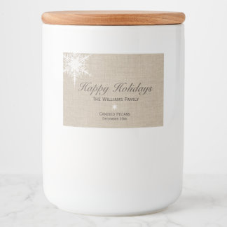 Happy Holidays Winter Snowflake Food Label Burlap