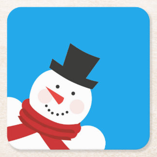 Happy Holidays with a smiling snowman Square Paper Coaster