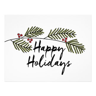 happy holidays with branches letterhead template