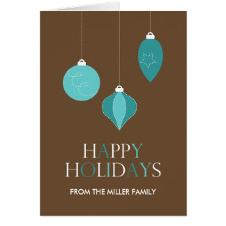 Happy Holidays with Christmas Tree Ornaments Card
