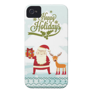 Happy Holidays with Santa Claus and Rudolf Case-Mate iPhone 4 Cases