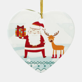Happy Holidays with Santa Claus and Rudolf Ceramic Heart Ornament
