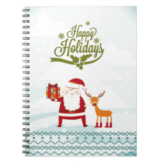 Happy Holidays with Santa Claus and Rudolf Notebooks