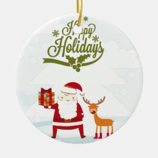 Happy Holidays with Santa Claus and Rudolf Round Ceramic Ornament