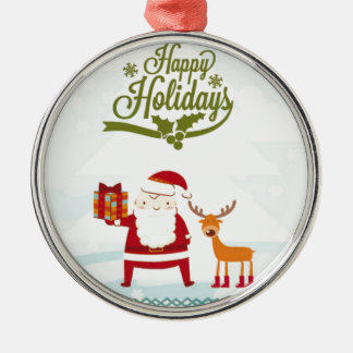 Happy Holidays with Santa Claus and Rudolf Silver-Colored Round Ornament