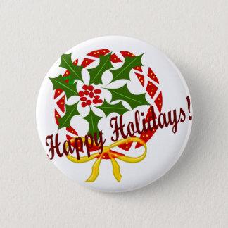 Happy Holidays wreath 2 Inch Round Button
