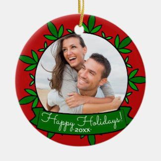 Happy Holidays Wreath Personalized Christmas Photo Ceramic Ornament
