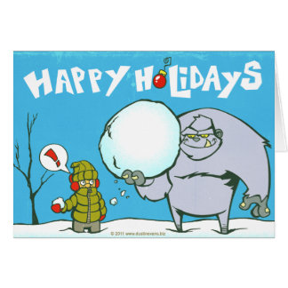Happy Holidays Yeti Abominable Snowman Card