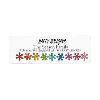 Happy Holigays Rainbow snowflakes