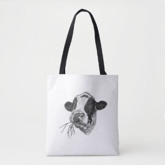 Happy Holstein Friesian Dairy Cow Tote Bag