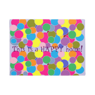 Happy home Cute Colorful Circles Pattern Doormat