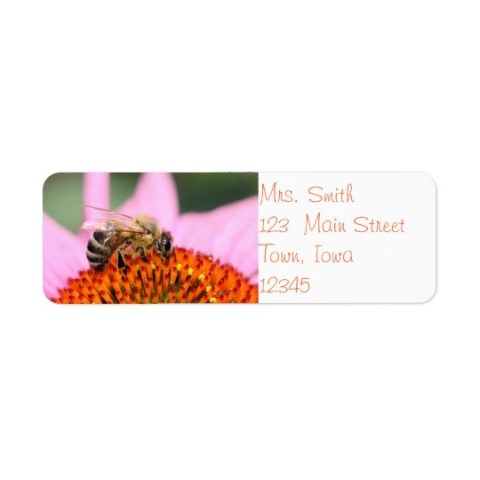 Happy honey bee return address label