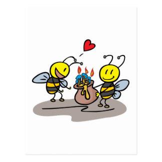 happy honeybees postcard