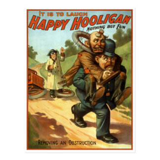 Happy Hooligan - Removing an Obstruction Postcard