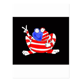 Happy Hoppy Frog Peace 4th of July Red White Blue Postcard