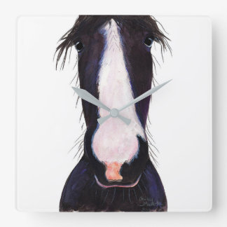 Happy Horse ' JeFF ' by Shirley MacArthur Square Wall Clock