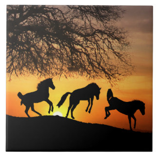 Happy Horses Art Tile