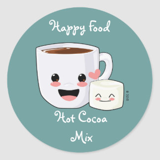 Happy Hot Chocolate and Marshmallows Label Round Sticker