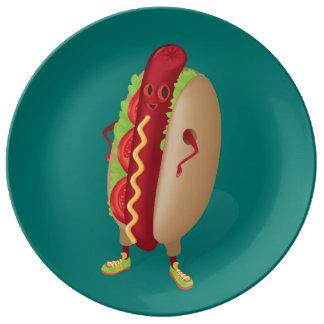 Happy Hotdog Porcelain Plates