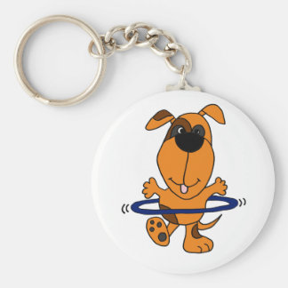 Happy Hound Dog Playing Hula Hoop Key Chains