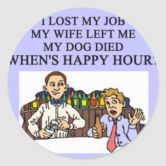 HAPPY HOUR beer joke Classic Round Sticker