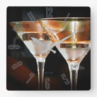 Happy Hour Martini Square Wall Clock