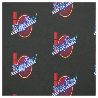 Happy Hour  Neon Sign Print Fabric