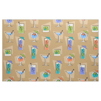 Happy Hour Retro Hawaiian Tropical Drinks Fabric