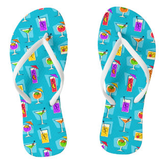 Happy Hour Retro Hawaiian Tropical Drinks Two-side Flip Flops