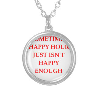 happy hour silver plated necklace
