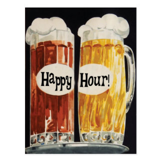 Happy Hour vintage beer mugs Postcard